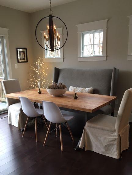 Wormy Chestnut Table with Iron Wishbone Legs