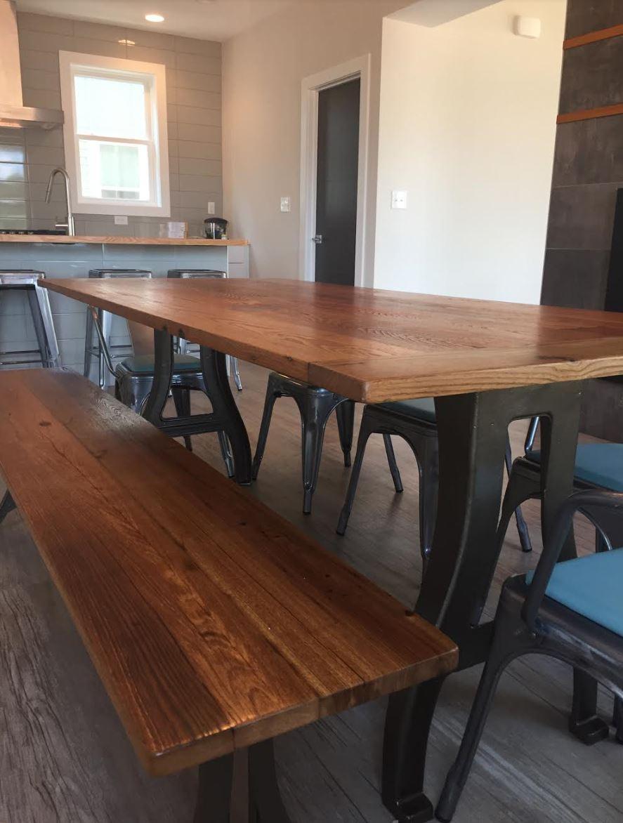 metal legs Chestnut Table