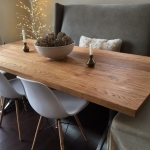 Wormy Chestnut Table with Iron Wishbone Legs1