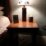 Reclaimed Wormy Bed side Table and Lamps made from Reclaimed Wood