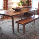 Custom Oak Bench and Oak table with Center Leaf Extension