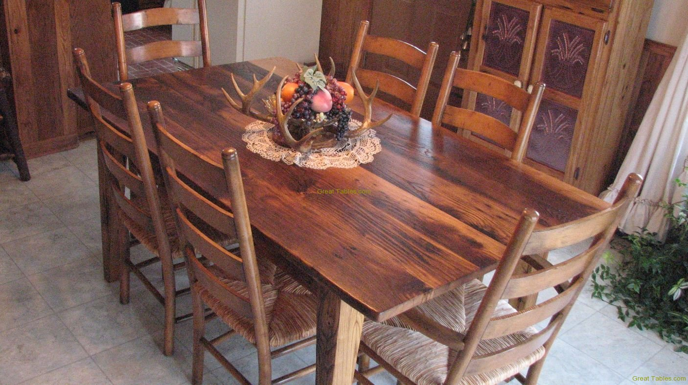 6. Rustic Chestnut with Ladderback Chairs
