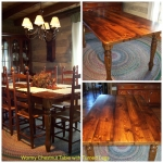 Wormy Chestnut table with turned Legs