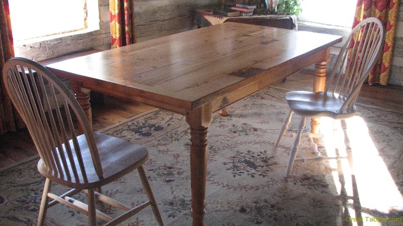 3. Heart Pine Table with End Extensions and Turned Legs