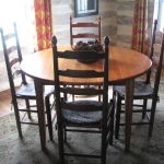 2. Heart Pine Round Table with Ladder Back Chairs