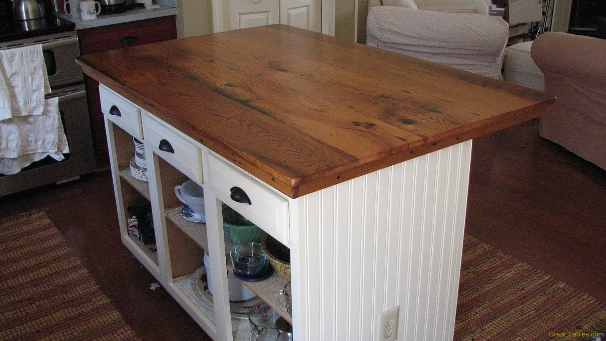 ordinary Wood Top For Kitchen Island #9: Oak Top Kitchen Island. Reclaimed Wood Kitchen Furniture