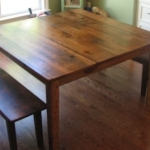 Square Oak Table and Bench
