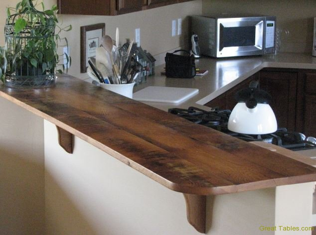 Reclaimed Oak Bar Top - Reclaimed Wood Tops And Features Reclaimed Wood Furniture