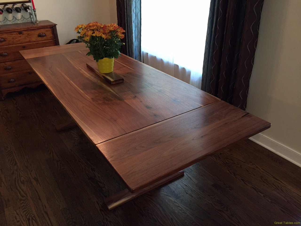 Walnut Trestle Table with Extensions