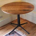 wormy chestnut round table (Metal base)