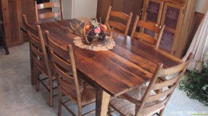 rustic chestnut with ladder back chairs