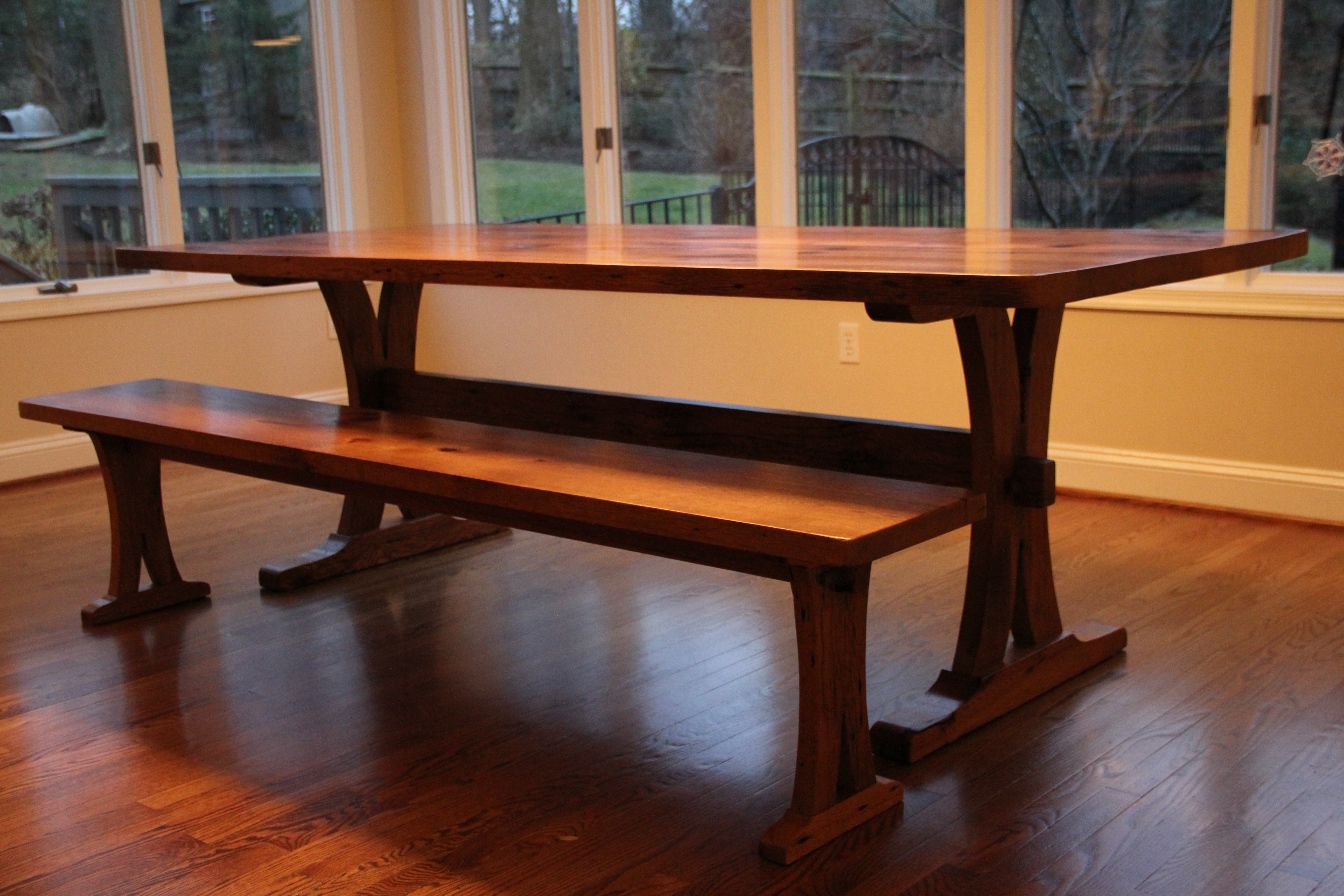 Reclaimed Oak Trestle Table And Bench