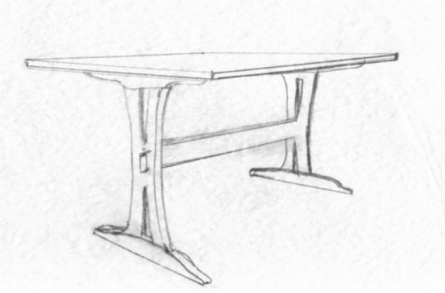 Trestle Table Sketch In Oak Reclaimed Wood