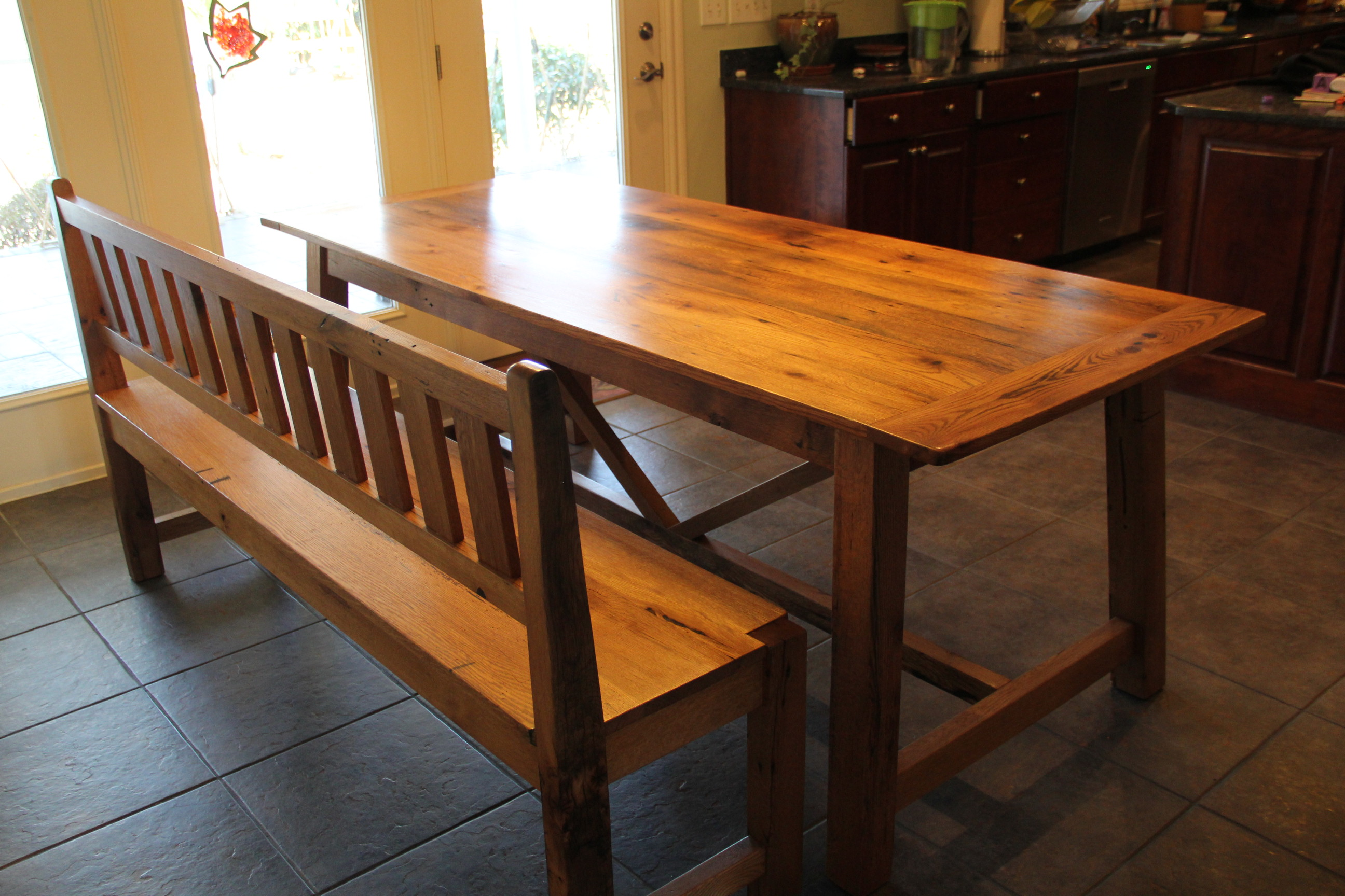 Reclaimed Oak Dining Table Spanish Trestle Oak Dining Table And Bench Reclaimed Wood Furniture