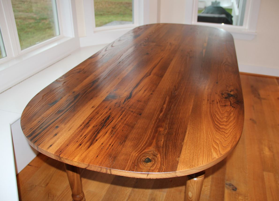 Wormy Chestnut Oval Table Reclaimed Wood