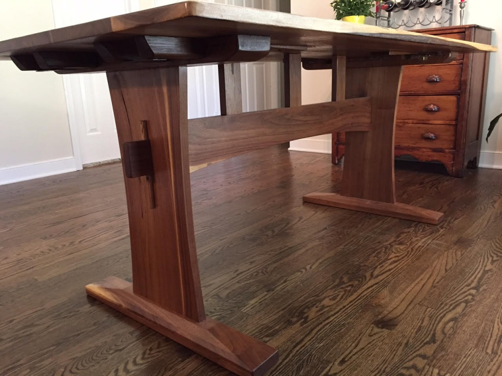 Reclaimed walnut trestle table with extensions