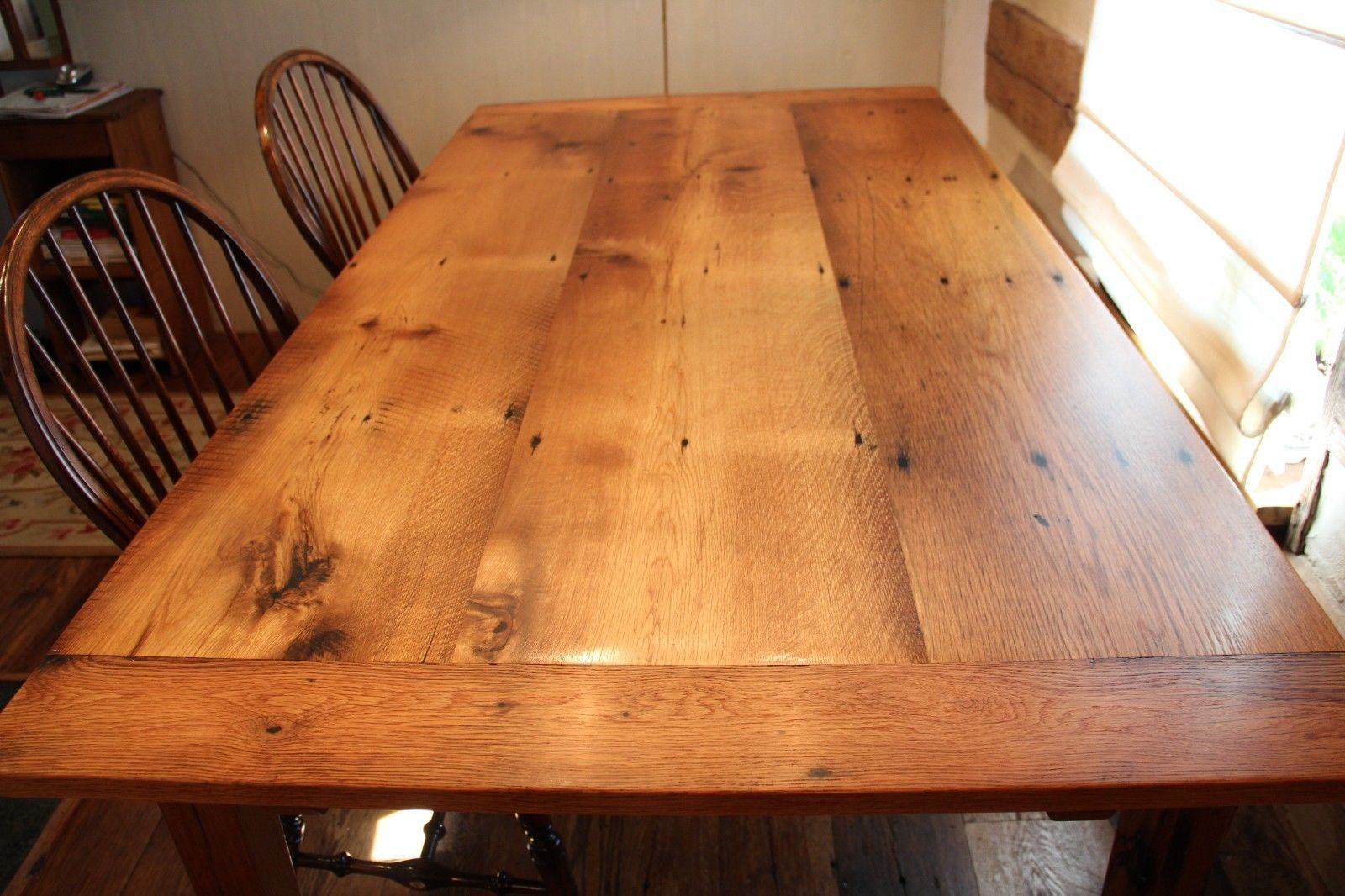 Reclaimed oak with extensions table wood