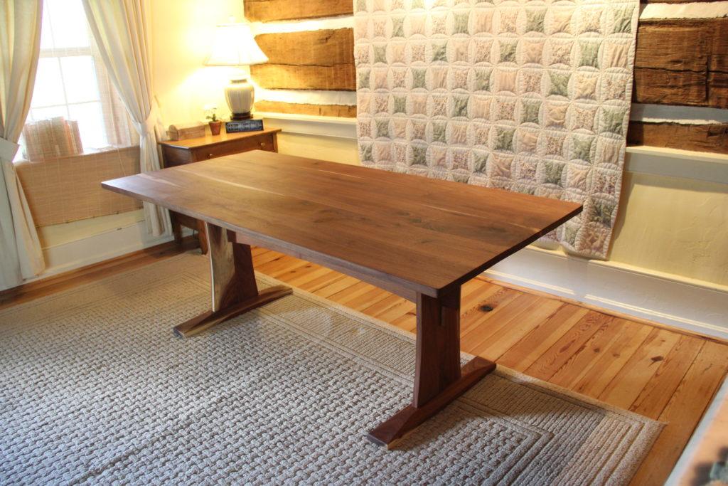 Custom Trestle Table Built With Reclaimed Walnut Boards. IMG_8934