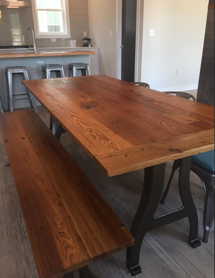 Wormy Chestnut Table With Metal Legs Reclaimed Wood