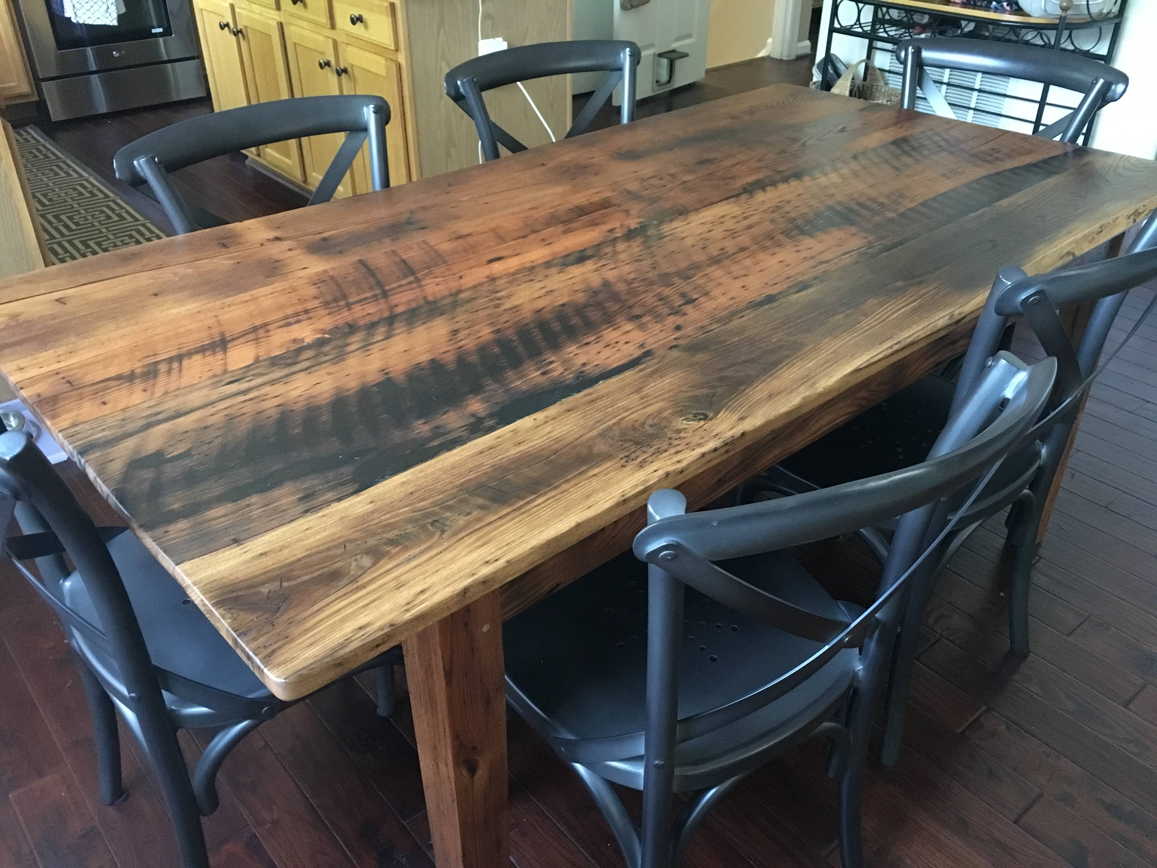 This Reclaimed Wood Farmhouse Table Was Built With Wormy Chestnut Barn  Boards. All The Wood Was Reclaimed In The Shenandoah ...