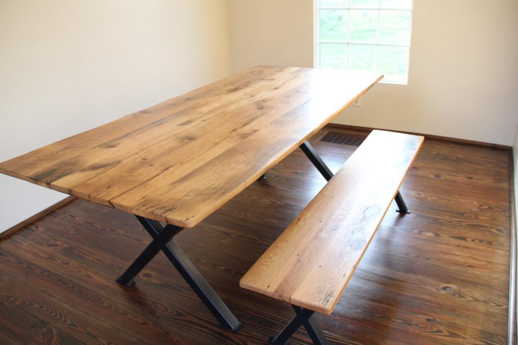 Reclaimed Oak Trestle Table Xbase Reclaimed Wood